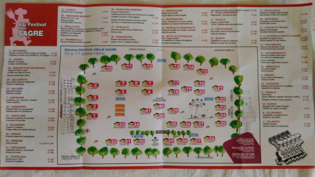 Karte map Festival delle Sagre Piemont Essen Asti
