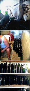 Der gute Rotwein wird aus den Gallonen in den Keller geleitet und dort in Pintone gefüllt (und NEIN, die Vespa steht wirklich dort und wurde nicht aus Dekozwecken von mir dort positioniert...)