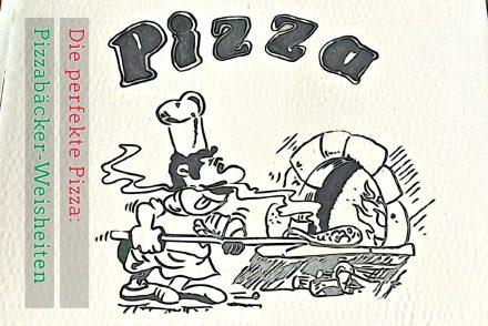 Selbst gestalteter Pizzakarton mit klassischem Pizzabäckermotiv Pizzaiolo vor Steinofen mit Pizzaschaufel