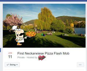 Bild des Facebook-Events für den Pizzaflashmob auf der Heidelberger Neckarwiese.