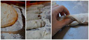 Callage Backen Baguette Teig Teiglinge und das Falten per Hand