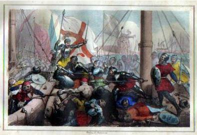 Litograph of the Battle of Meloria (1284) von Armanino